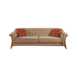 2 Seater Wooden Leather Sofa