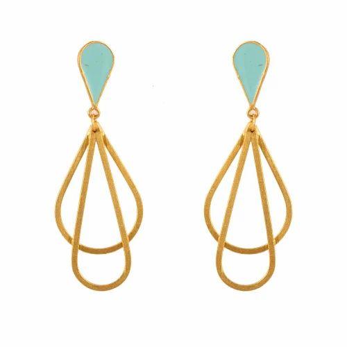 1ea15e02765 Silver Brass Dangle Earring Gold Plated Earring Tear Drop Earring Turquoise  Enamel Boho Earring