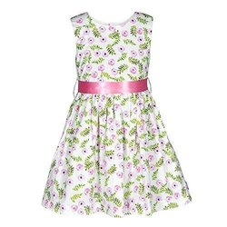 Regular Wear White Floral Print Baby Girl Cotton Frock, Size: 26 To 32