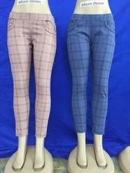 Casual Wear Checkered Ladies Casual Cotton Trouser