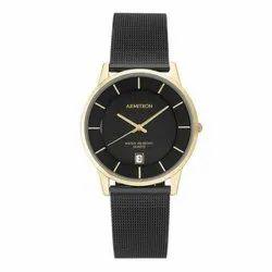 Armitron Deco 38 Mens 20 5123GPTI Quartz Black Mesh Stainless Steel Dress Watch
