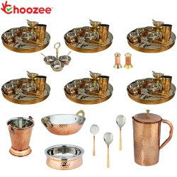 Choozee - Set of 6, Stainless Steel Copper Thali Set with Serveware and Copper Hammered Jug (70 Pcs)