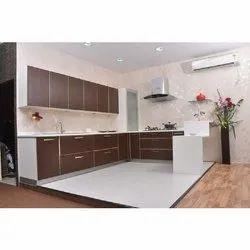 Acrylic L Shape Kutchina Modular Kitchen