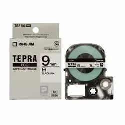 Tepra Label Tape SS9KW Pro Cartridge 9mm Black on White