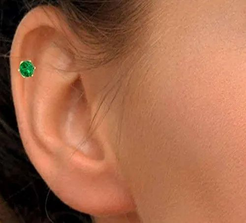 Yellow Gold Gemstone Wedding Np1076 Green Emerald Nose Stud Rs