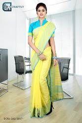 Yellow and Blue Uniform Saree