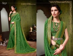 Designer Green Embroidery Party Wear Saree