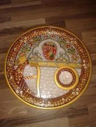 Handmade Marble Pooja Thali For Auspicisous Functions