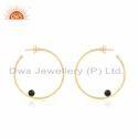 Designer Gold Plated Silver Black Onyx Hoop Earrings Jewelry