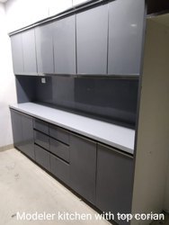 Straight PVC Modular Kitchen With Top Corian, Warranty: 1-5 Years