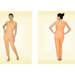 Orange Linen Cowl Neck Jumpsuit