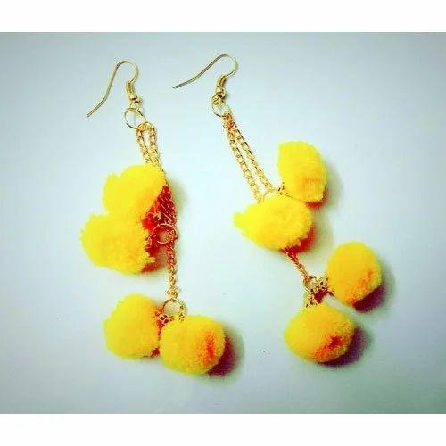 Las Yellow Pom Earring