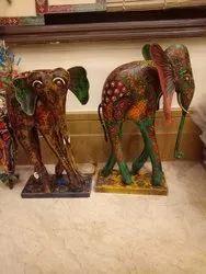 Multicolor Decorative Metal Elephant, for Exterior Decor