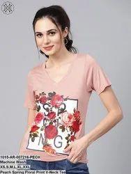 Peach Spring Floral Print V-Neck Tee