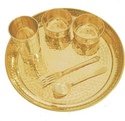 Golden Pure Brass Hammered Dinner Thali Set, Packaging Type: Carton