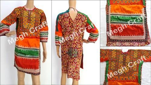 9f100535c68 Multicolor MEGH CRAFT Vintage Afghani Embroidered Mirror Work Tunic Tops