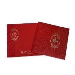 Red Pull-Out Insert Hindu Wedding Invitation Card Design, Size: 18.9cm X 19cm