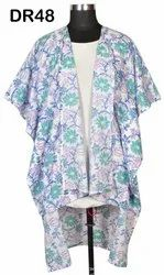 Cotton Hand Block Printed Women's Front Open Long Kaftan Poncho DR48