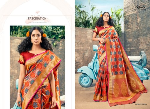 Plain Silk Party Stylish Red Designer Wear, 5.5 m (Separate Blouse Piece)