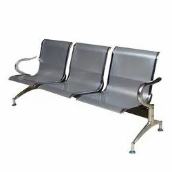 Three Seater Waiting Area Visitor Reception Chair in Chrome Finish