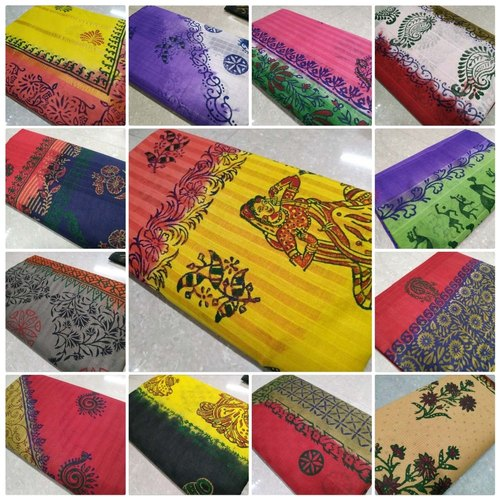 Jacquard Hand Block Prints Pure cotton sarees with exclusive block print, 5.5 m (separate blouse piece), With Blouse