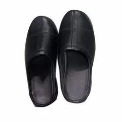 Black Mens Bedroom Leather Slipper, Packaging Type: Box