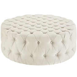 Polyester Beige Pouf