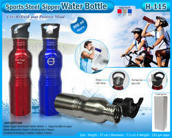 Amberoid Polished H-115 Sports Steel Sipper Water Bottle, Capacity: 800 ml