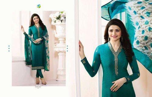 Sky Blue Fashion American Crepe Dark Green Color Semi Stitched