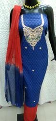Zari Gota Patti Suit With Leheria Dupatta