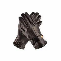 Plain Black Safety Leather Gloves, Size: Medium