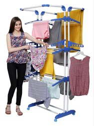 Stainless Steel 3 Poll Clothes Drying Stand With Breaking Wheel System
