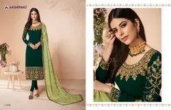 Aashirwad Cross Stitch Georgette Designer Heavy Look Indian Salwar Suit