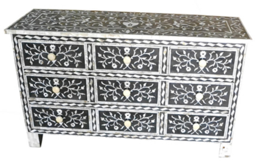 Black Bone Inlay Bedside Table