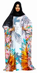 Floral Printed Arabic Kaftan Style Islamic Abaya Burqa For Women