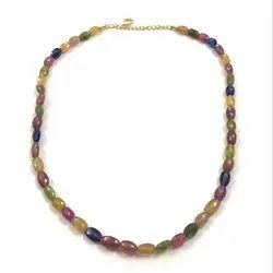 Precious Multi Sapphire Gemstone Oval Faceted Beads Jewelry