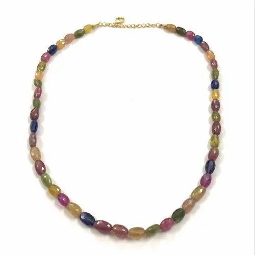 "Precious Natural Multi Sapphire Gemstone Beads Necklace Jewelry Silver Clasp 18/"""