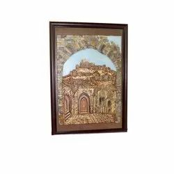 Wooden Frame Golconda Fort Antique Mural Wall Painting, Size: 36*24 Inches