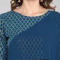 Janasya Women's Turquoise Blue Poly Crepe Kurta