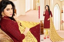Printed Collar Neck Mallika Salwar Suit Fabric