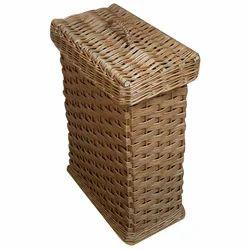 Lidded Rectangular Wicker Laundry Basket