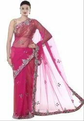 Rani Pink Hand Work Saree