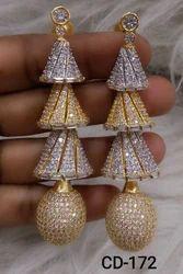 Cz Earing Gold, Silver & Two Tone American Diamond Earrings
