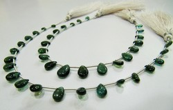 Dark Green Apatite Gemstone Pear Shape Beads