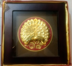 Gold Leaf Peacock Frame - 10X10 Inch