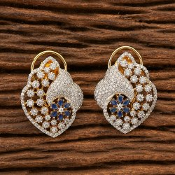 85ce9fdce Copper Cz Stud Earrings with 2 Tone Plating 400789