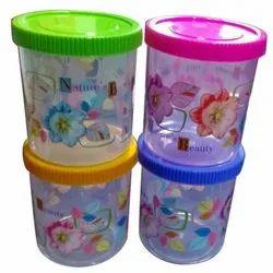 Edible Round Kitchen Printed Plastic Box, Box Capacity: 500ml