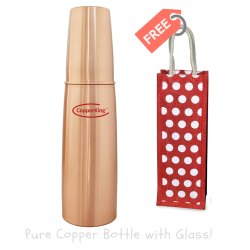 CopperKing Water Bottle with Glass and Jute Bag