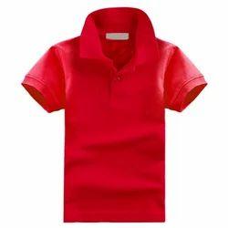 Red Cotton Kids Plain Collar T Shirt