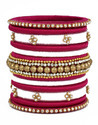 Pink and White Designer Silk Thread Bangle